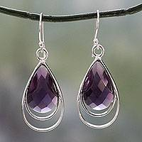 Amethyst dangle earrings, 'Delhi Glam' - Amethyst Dangle Earrings Set in Sterling 925 Silver