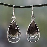 Smoky quartz dangle earrings, 'Delhi Glam' - Faceted Smoky Quartz Earrings Handmade in India