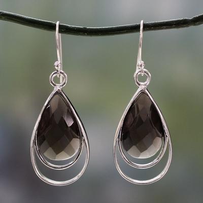 Smoky quartz dangle earrings, 'Delhi Glam' - Faceted Smoky Quartz Earrings Handmade in India
