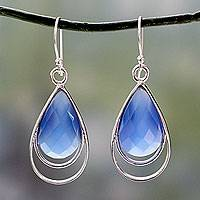 Blue chalcedony dangle earrings, 'Delhi Glam' - Artisan Designed Blue Chalcedony Hook Earrings from India
