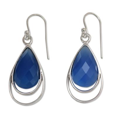 Artisan Designed Blue Chalcedony Hook Earrings from India