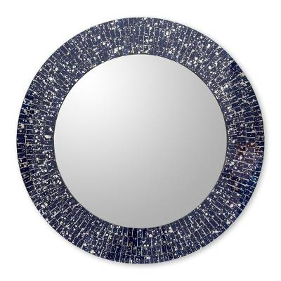 Glass mosaic wall mirror, 'Round Navy Cosmos' - Navy Blue Glass Mosaic Round Wall Mirror Crafted by Hand