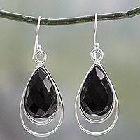 Onyx dangle earrings, 'Delhi Glam' - Sterling Silver Dangle Earrings with Black Onyx