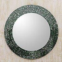 Glass mosaic wall mirror, 'Round Emerald Cosmos' - Green Glass Mosaic Round Wall Mirror Crafted by Hand