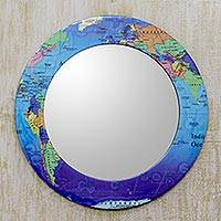 Decoupage wall mirror, 'Around the World' - World Map Round Mirror and Frame Crafted by Hand in India