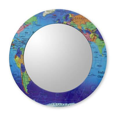World map round mirror and frame crafted by hand in india around decoupage wall mirror around the world world map round mirror and frame gumiabroncs Images