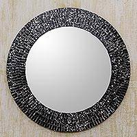 Glass mosaic wall mirror, 'Round Black Cosmos' - Hand Crafted Black Glass Mosaic Round Wall Mirror