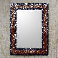 Glass mosaic wall mirror, 'Starlight Beauty' - Brown Silver and Blue Glass Mosaic Wall Mirror from India