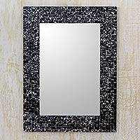 Glass mosaic wall mirror, 'Twilight Cosmos' - Hand Crafted Glass Mosaic Mirror Frame in Black and Silver
