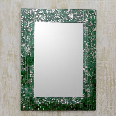 Glass mosaic wall mirror, 'Emerald Cosmos' - Hand Crafted Green Glass Mosaic Rectangular Wall Mirror