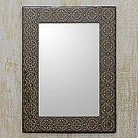 Decoupage mirror, 'Classic Floral' - Decoupage Wall Mirror Frame Crafted by Hand in India