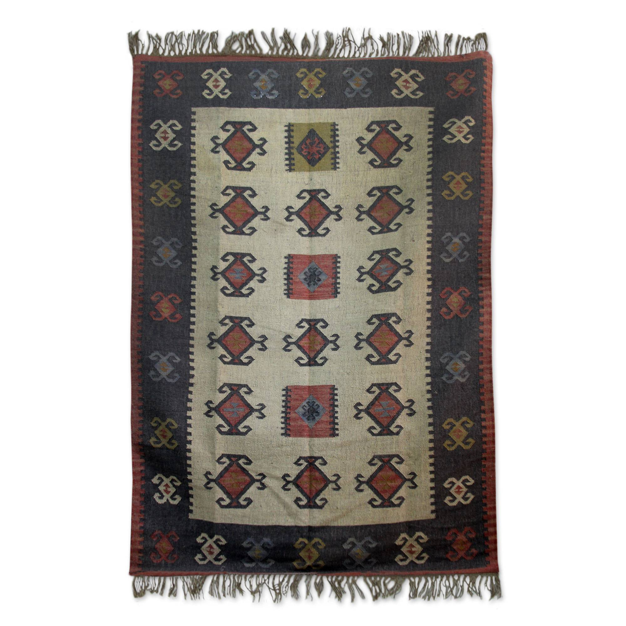 Multicolored Jute Area Rug Hand Loomed In