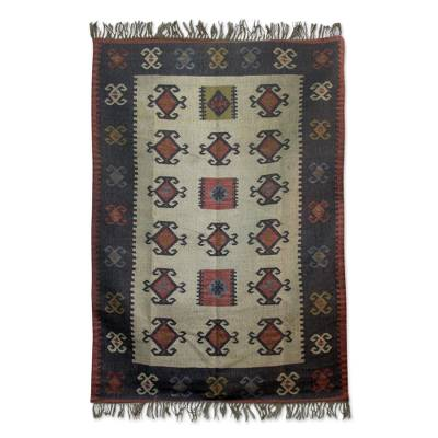 Jute area rug, 'Natural Wonders' (6.5x10) - Multicolored Jute Area Rug Hand Loomed in India (6.5x10)