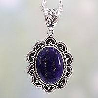 Lapis lazuli pendant necklace, 'Royal Audience' - Artisan Crafted Lapis Lazuli and Silver Pendant Necklace