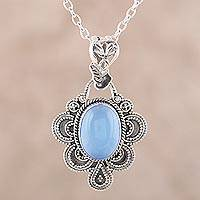 Chalcedony pendant necklace, 'Blue Antique Radiance'