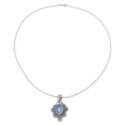 Handcrafted Antique Style Silver and Chalcedony Necklace