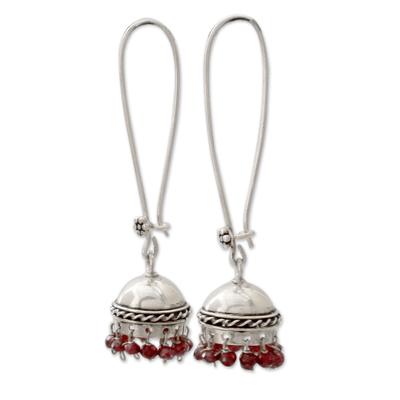 Garnet dangle earrings, 'Grand Tradition' - Indian Style Garnet and Sterling Silver Earrings