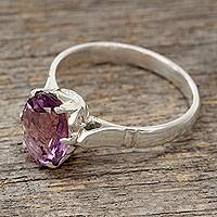 Amethyst solitaire ring, 'Solitary Allure'