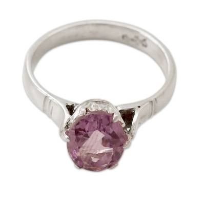 Amethyst solitaire ring, 'Solitary Allure' - Amethyst and .925 Sterling Silver Solitaire Ring