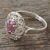 Amethyst cocktail ring, 'Festivity in Lilac' - Lacy Sterling Silver Cocktail Ring with Amethyst