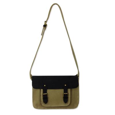 Khaki Canvas Messenger Bag with Black Leather Trim