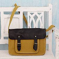 Leather accent cotton Messenger bag, 'Casual in Mustard' - India Messenger Bag in Yellow Canvas with Black Leather Trim