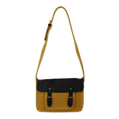 India Messenger Bag in Yellow Canvas with Black Leather Trim