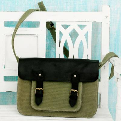 Leather accent cotton messenger bag, 'Casual in Green' - India Green Canvas Messenger Bag with Black Leather Accents