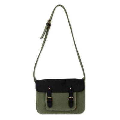 India Green Canvas Messenger Bag with Black Leather Accents