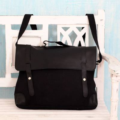 Leather accent cotton messenger bag, 'Efficient Black' - Multi-Pocket Black Leather Tote with Leather Trim