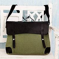 Leather accent cotton messenger bag, 'Efficient Green' - Leather Trim Green Cotton Multi-Pocket Messenger Bag