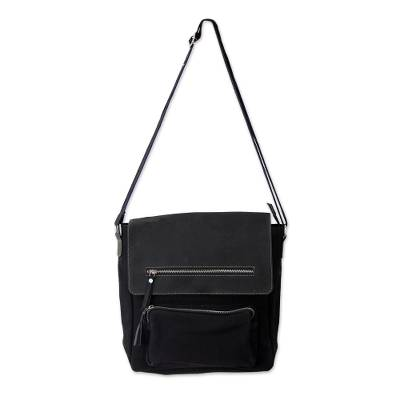 Black Leather and Canvas Messenger Bag with 8 Pockets