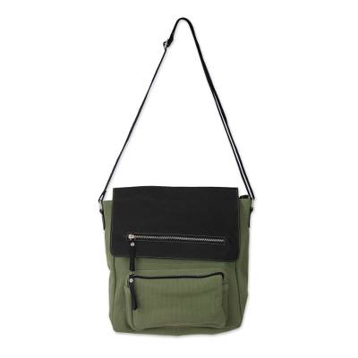 Leather accent cotton messenger bag, 'Green Pockets Aplenty' - India Green Leather and Canvas Messenger Bag with 8 Pockets