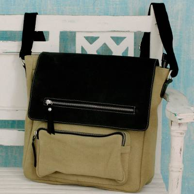 Leather accent cotton messenger bag, 'Beige Pockets Aplenty' - UNISEX Leather and Canvas Messenger Bag with 8 Pockets