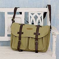 Leather accent cotton messenger bag, 'Smart in Khaki' - Black Leather Trim India Khaki Canvas Messenger Bag