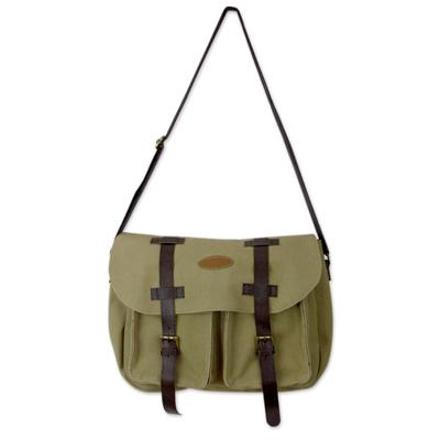 Novica Leather accent cotton messenger bag, Efficient Black