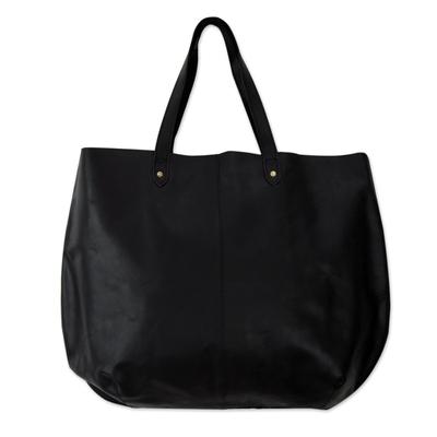 Leather tote handbag, 'Mumbai Midnight' - India Large Open Unlined Black Leather Tote Handbag