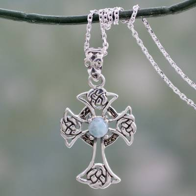 Larimar cross pendant necklace, 'Sacred Realm' - Artisan Crafted Cross Pendant Necklace with Larimar