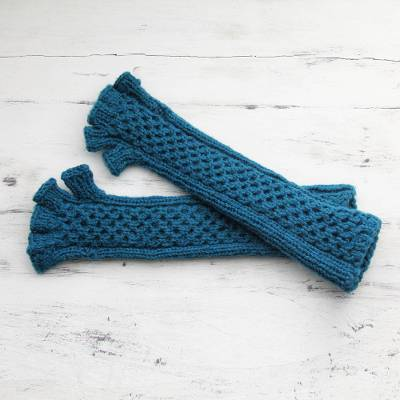 Long Fingerless Wool Gloves Knitted By Hand In India Himalaya Teal