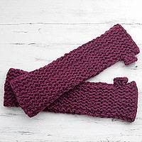 Wool fingerless mitts, 'Burgundy Wonderland' - Hand Knitted Long Fingerless Mitts by Himalayan Women