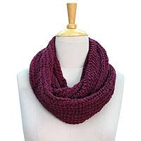 Wool infinity scarf, 'Burgundy Legacy' - Hand Knitted Wool Infinity Scarf by Himalayan Artisans