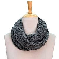 Wool infinity scarf, 'Grey Jali Legacy' - Wool Infinity Scarf Knitted by Hand by Himalayan Artisans