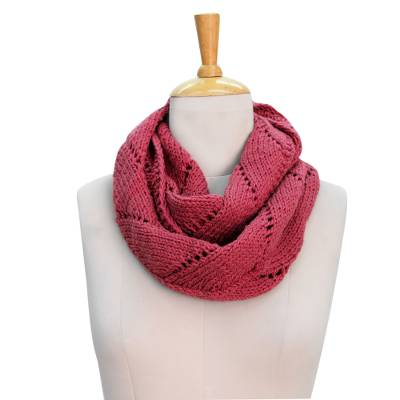 Wool infinity scarf, 'Pink Snow Cloud' - Wool Infinity Scarf in Coral Pink Knitted by Hand