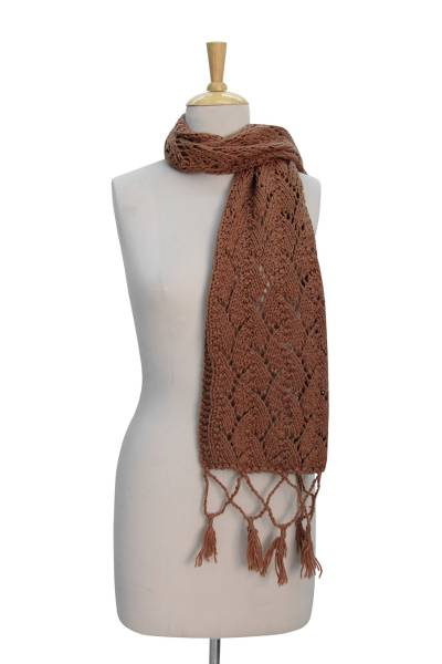 Wool scarf, 'Caramel Paths' - Hand-knitted Wool Scarf in Caramel Brown from India