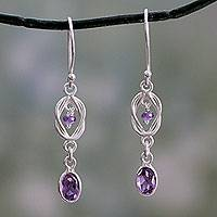 Amethyst dangle earrings, 'Violet Knot'