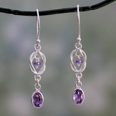 Amethyst dangle earrings, 'Violet Knot' - India Artisan Crafted Amethyst and Silver Earrings