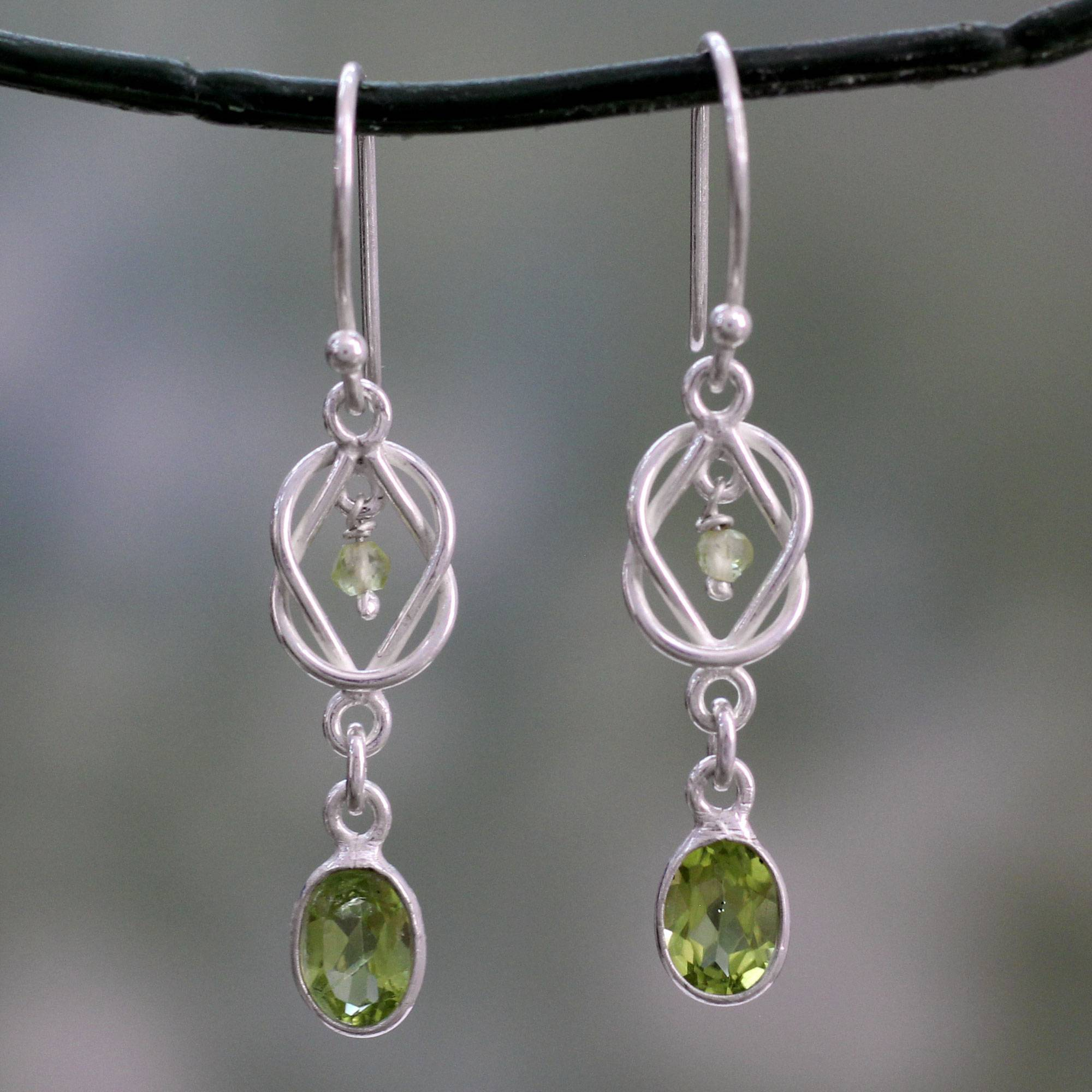 Silver And Peridot Dangle Earrings