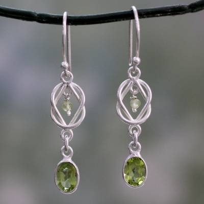 Peridot dangle earrings, 'Lime Knot' - Silver and Peridot Dangle Earrings Crafted in India