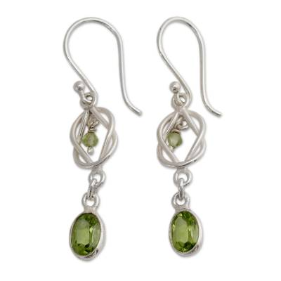 Silver and Peridot Dangle Earrings Crafted in India