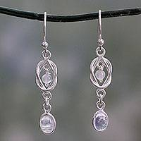 Rainbow moonstone dangle earrings, 'Moonlight Knot' - Artisan Crafted Rainbow Moonstone and Silver Earrings